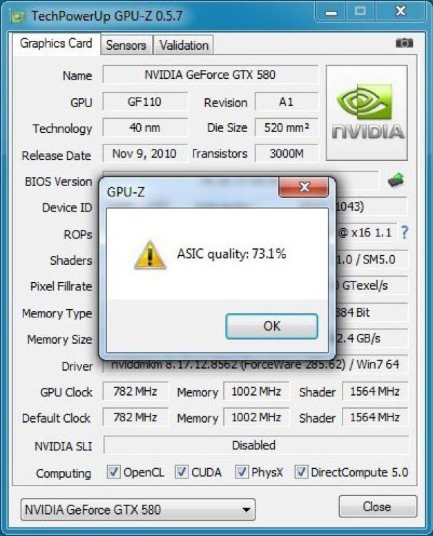 Просмотр параметра ASIC quality в GPU-Z